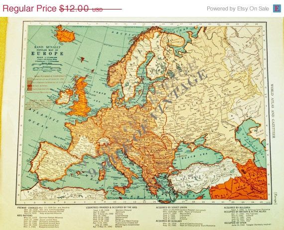 Map Of Europe For Sale.Original Vintage Map Of Europe The Collier S World Atlas And