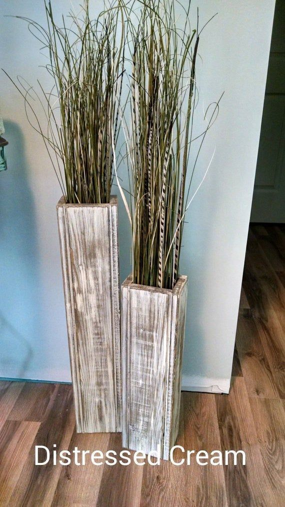 Set Of 2 At 24 Rustic Floor Vases Wooden Vases Home Decor