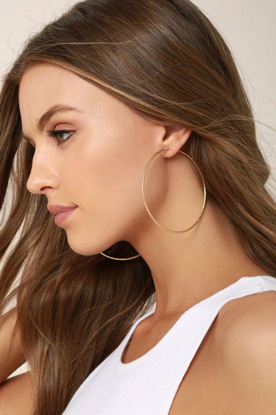 34 Inch Gold Hoop Earrings