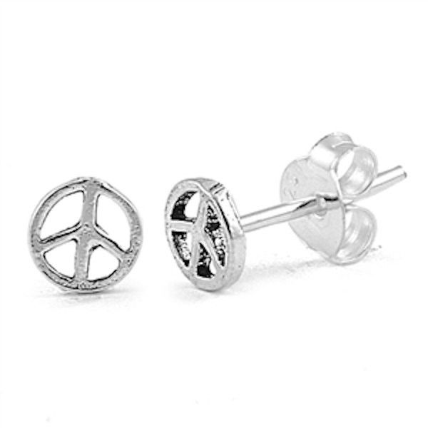 crystals stud silver faceted peace boho jewelry black sign sterling earrings symbol pin bohemian with
