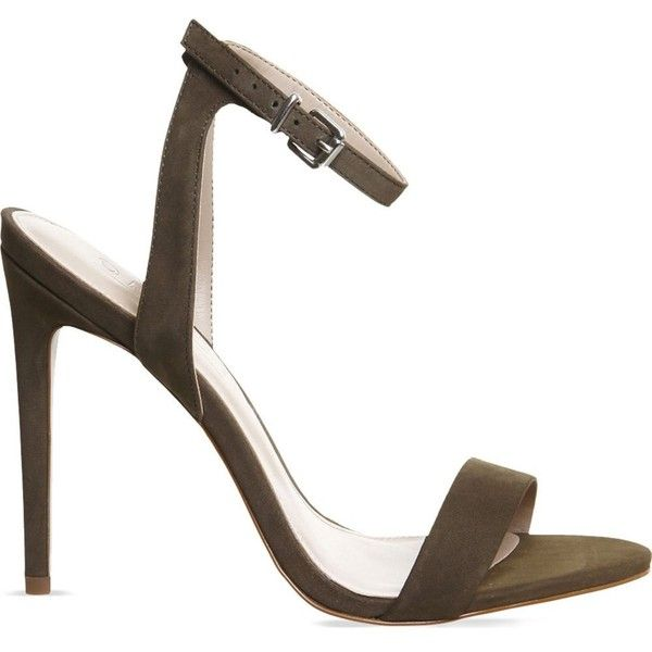 OFFICE Alana nubuck leather sandals ($70) ❤ liked on Polyvore featuring shoes, sandals, khaki nubuck, stiletto sandals, high heel sandals, ankle tie sandals, ankle strap sandals and open toe shoes