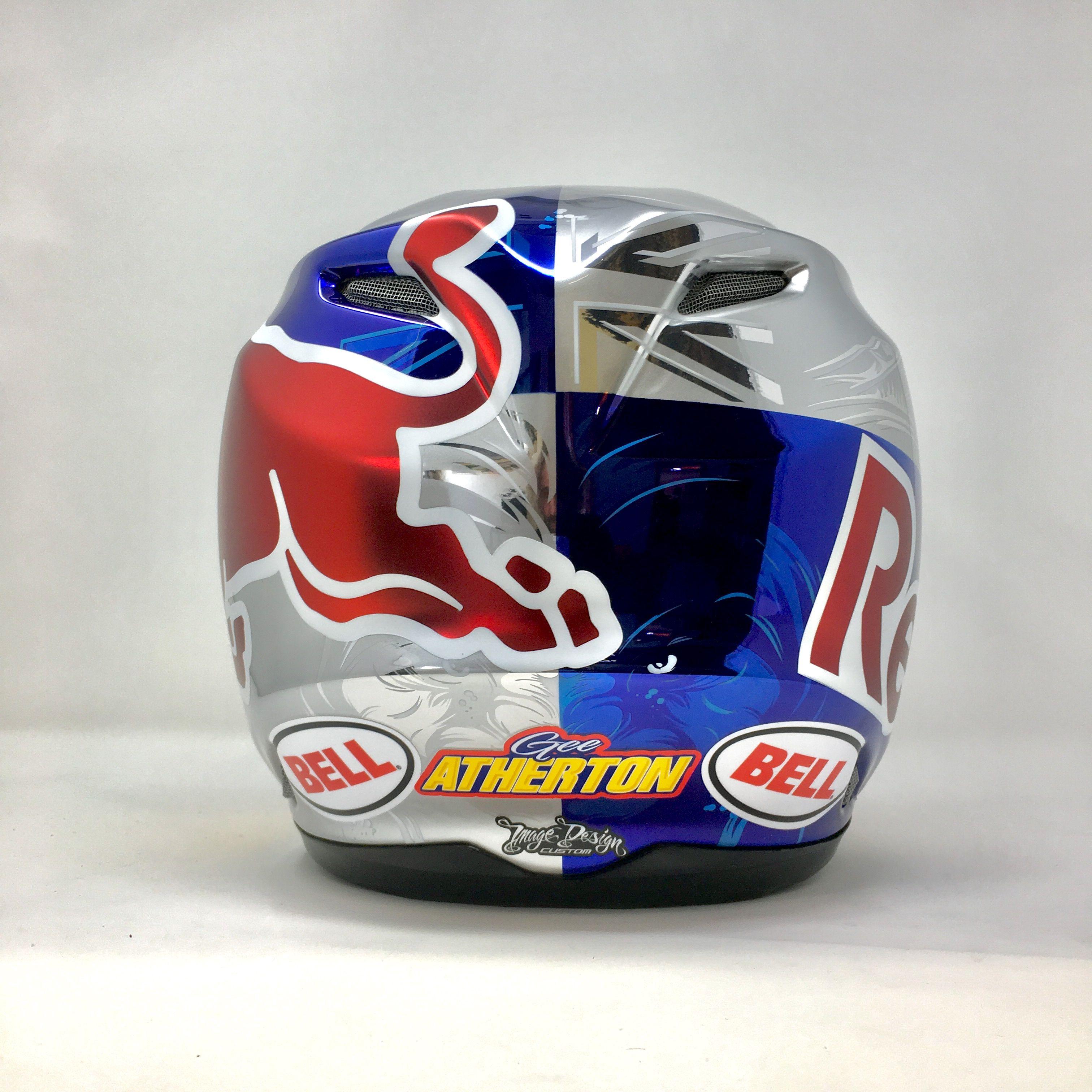 Gee Atherton Redbull Custom Painted Bell Helmet In Chrome 2018