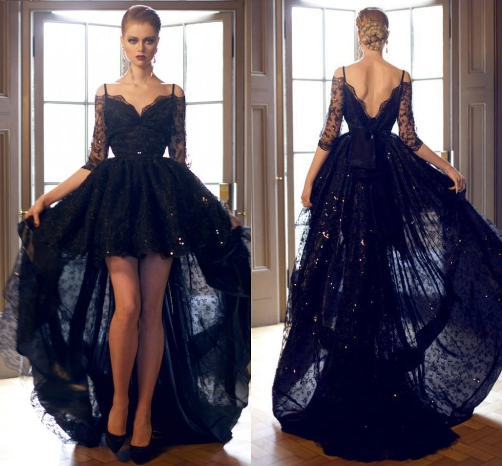 Elegant black lace high low prom dresses sexy half sleeve off