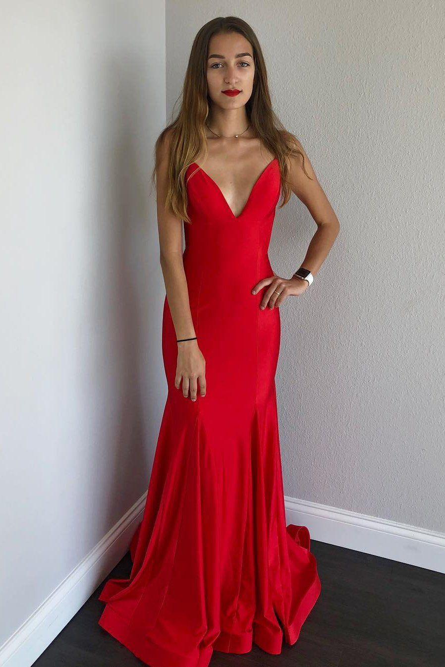 Mermaid satin long red prom dress with open back modcody