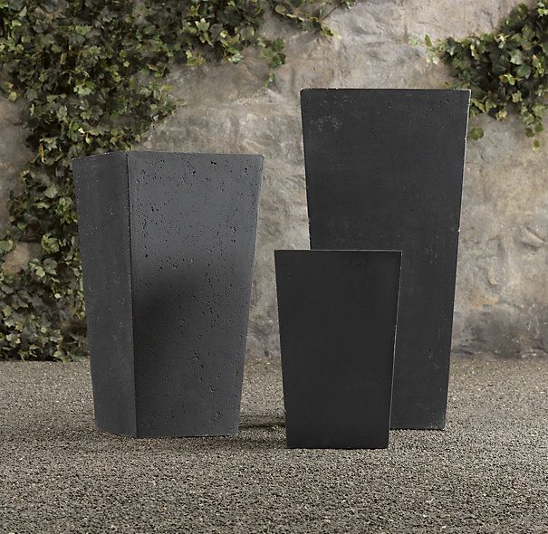Weathered Cast Stone Tapered Planters Stone Planters Planters Front Door Planters