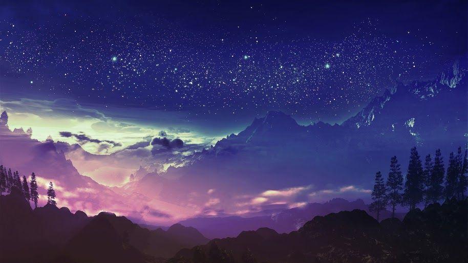 Mountainnight Anime Scenery Anime Scenery Wallpaper Night Landscape Beautiful anime scenery wallpaper hd