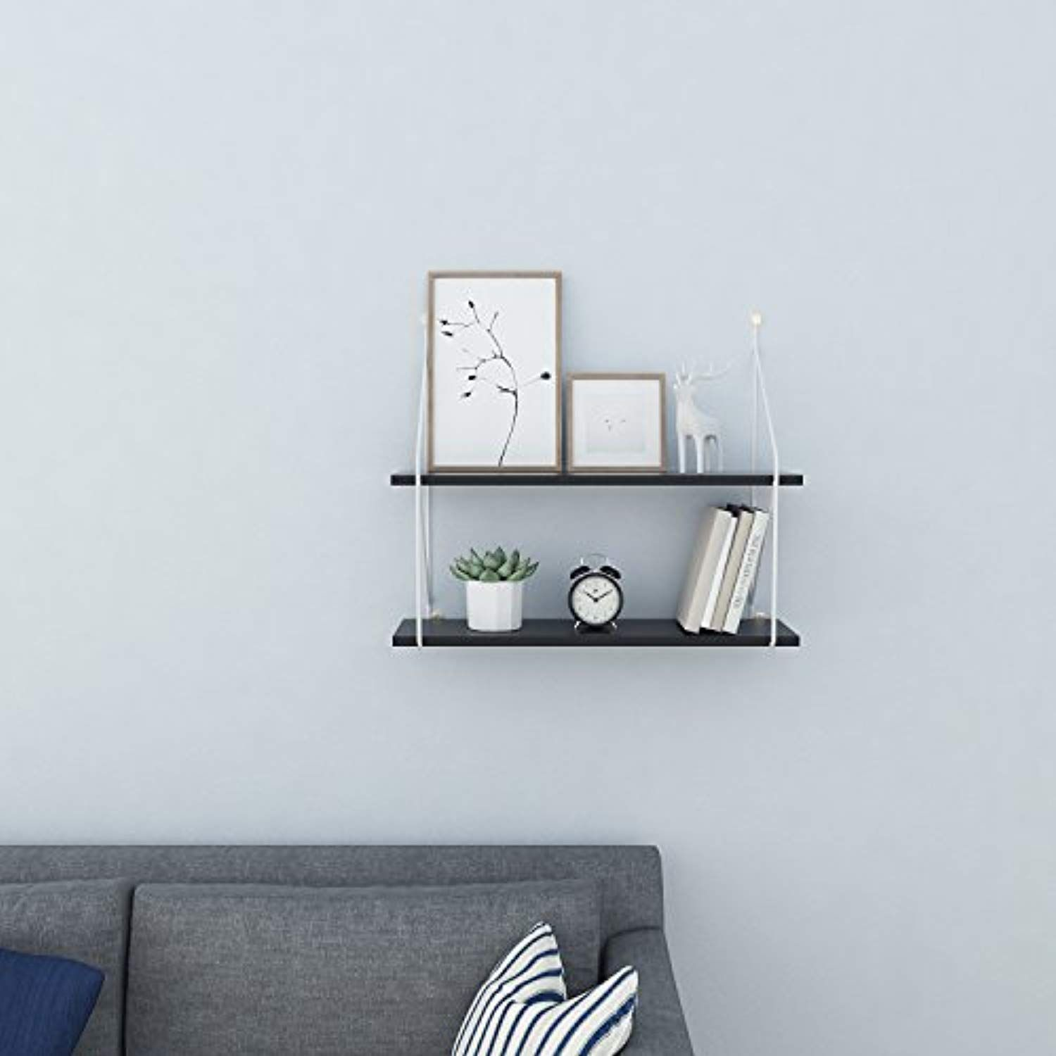 Homevol Industrial Floating Shelves Wall Mounted Metal Frame Urban Chic Display Wall Shelf 2 Tier Black Floating Shelves Shelves Industrial Floating Shelves
