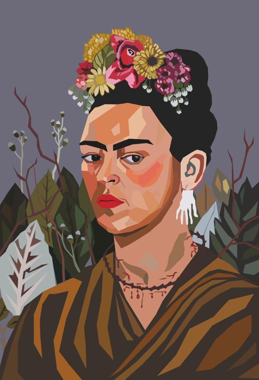 Vector Portrait Vector Portrait Graphic Illustration Kahlo Paintings