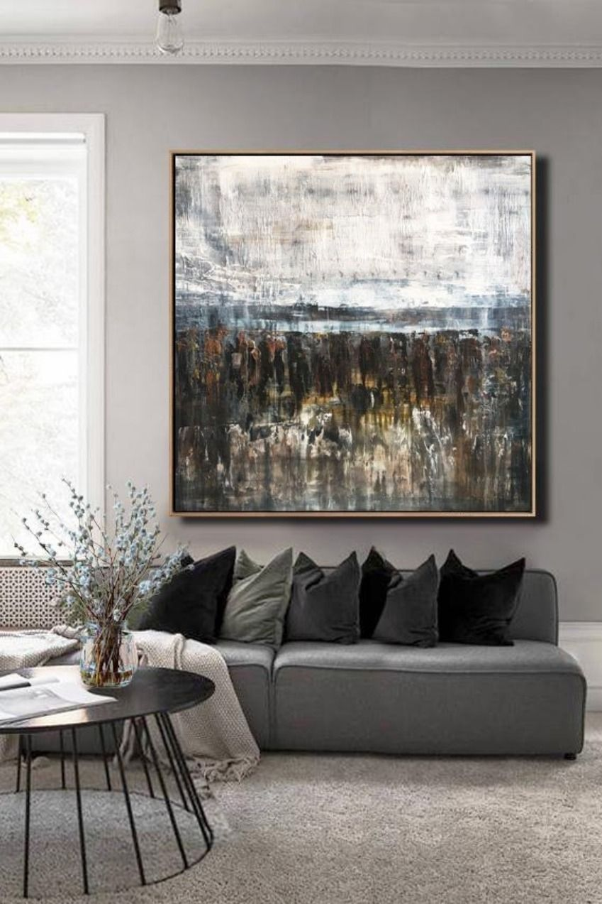 Large Wall Art Canvas Oversize Painting Brown Painting White Painting Gray Painting Living Room Wall Large Canvas Wall Art Large Wall Art White Painting