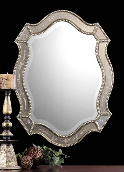 Click Here To View Larger Image Mirror Wall Oval Mirror Etched
