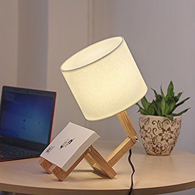 haitral wooden table lamp adjustable creative nightstand lamp for bedroom office kids - - amazon
