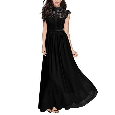 Free Shipping. Buy Women Lace Chiffon Formal Wedding Bridesmaid Dress Lace  Summer Sleeveless Evening Cocktail Party Prom Ball Gowns at Walmart.com 6cef10c53e1e