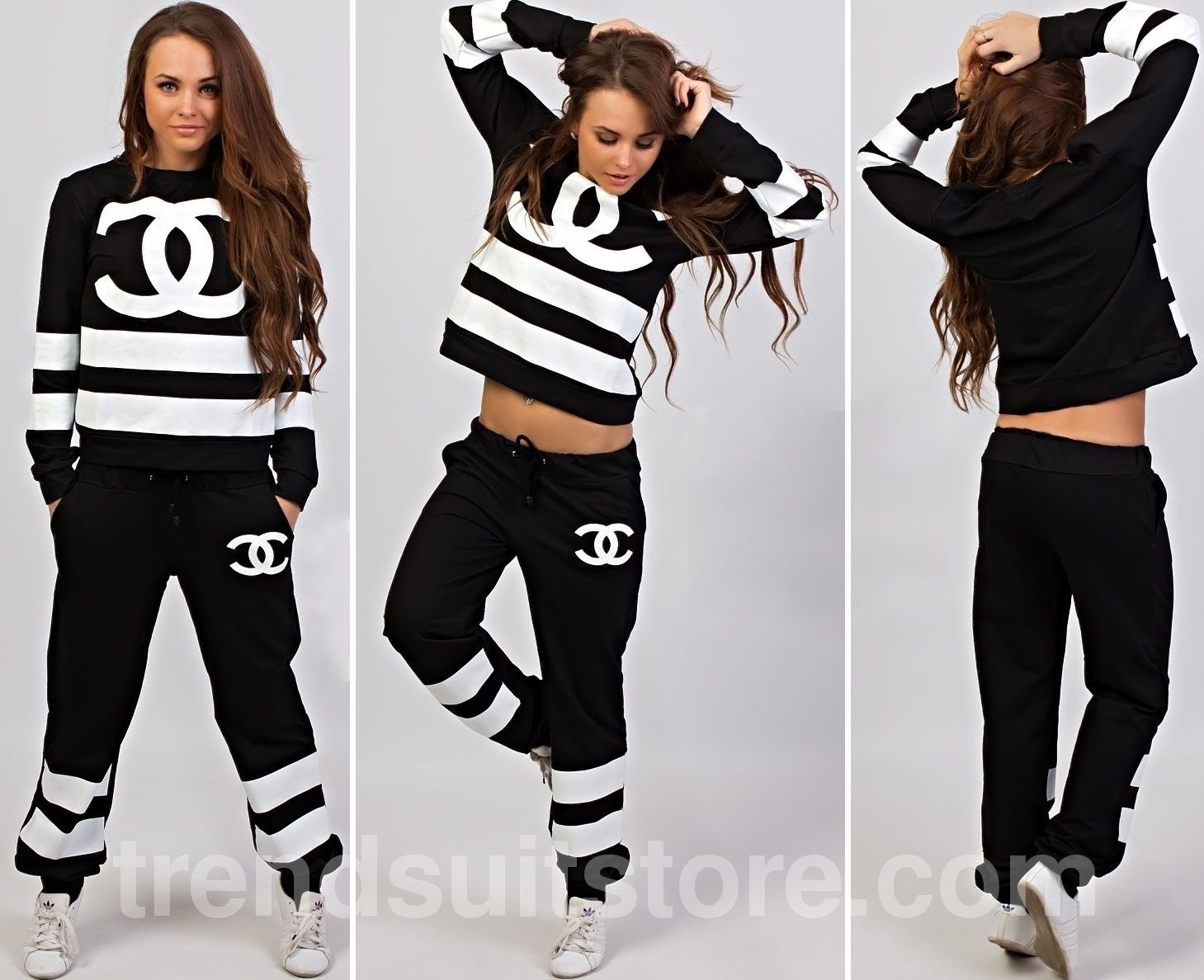 chanel tracksuit. #striped #tracksuit stylish womens striped long sleeve tracksuit chanel a
