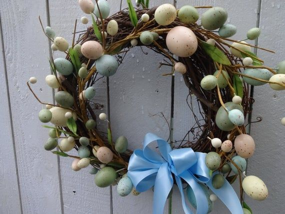 Photo of Easter Wreath  Easter Egg Wreath  Front Door Wreath  Easter Gift  Wreath For Door  Wreath  Easter Decorations  Grapevine Wreath