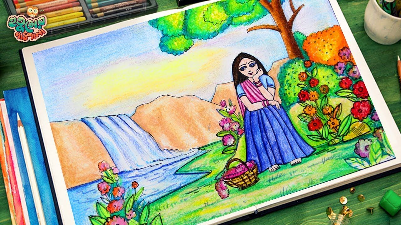 How To Draw A Girl In Garden Scenery Scenery Drawing Easy Scenery Drawing For Kids Art Drawings For Kids Easy Drawings