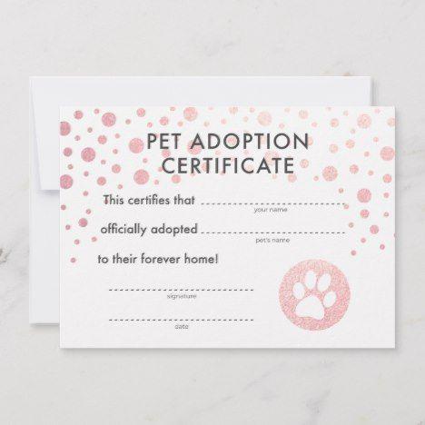Pet Adoption Birthday Party Certificate | Zazzle.com #petadoption
