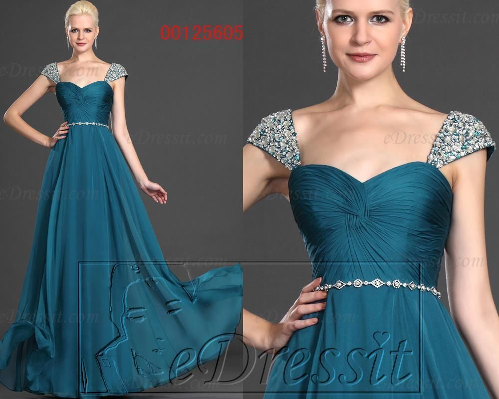 eDressit New Cap Sleeves Blue Charming Prom Gown Evening Dress UK 6-20