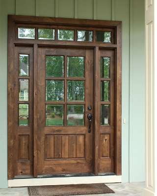 Ventura Solid Panel Mahogany Entry Door With Sidelites And Transom House Exterior Knotty Alder Doors Wooden Front Doors