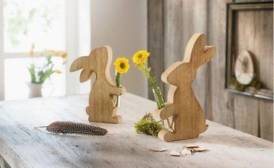 Deko Hasen Mit Vase Holz 2er Set Osterdeko Tischdeko Tisch