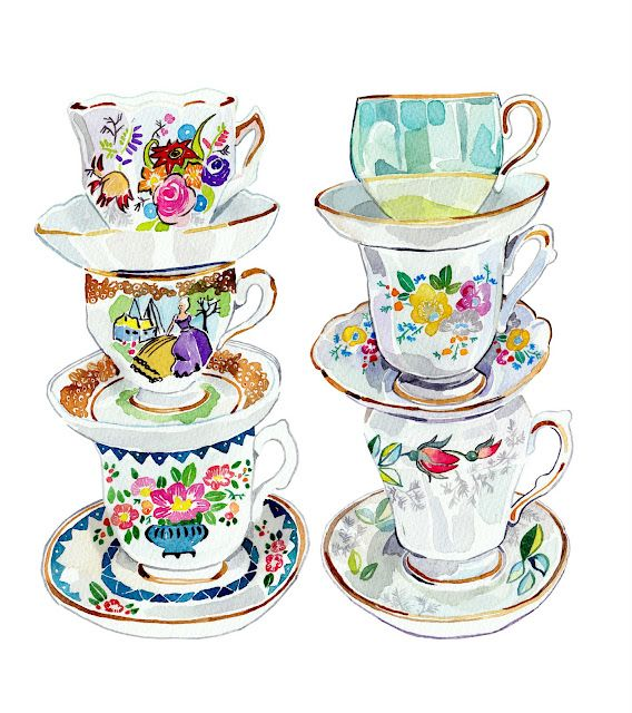 """""""vintage Tea Cups """" by holly exley"""