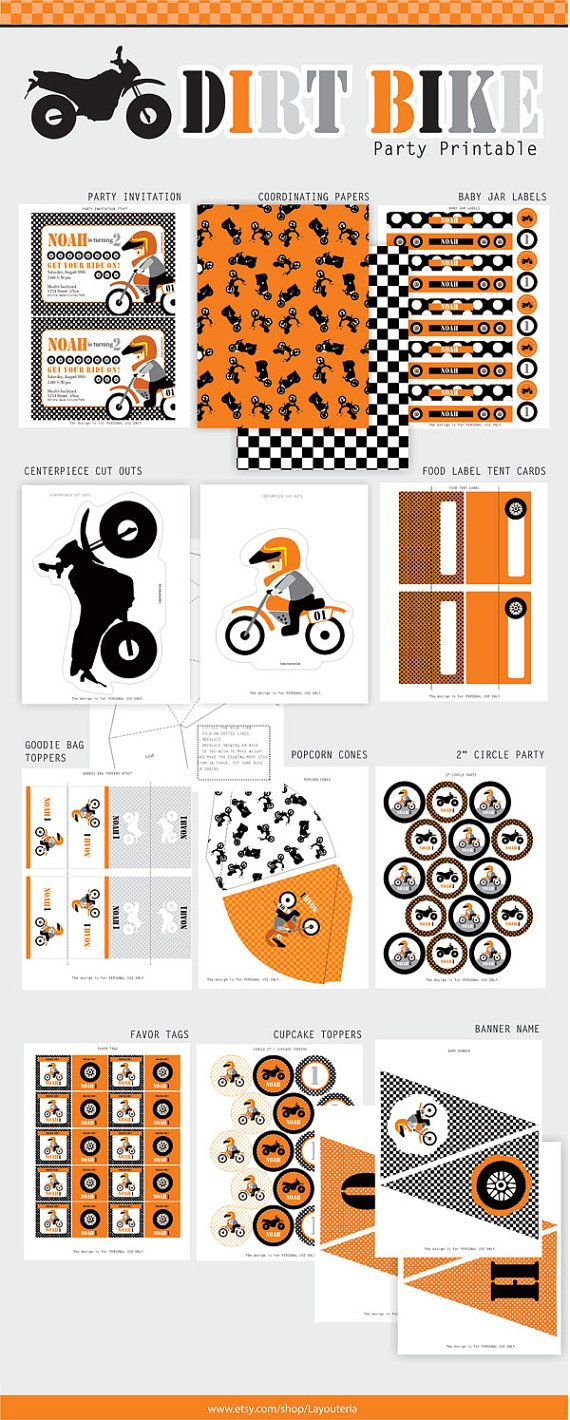 DIRT BIKE Birthday Party Printable Set ...
