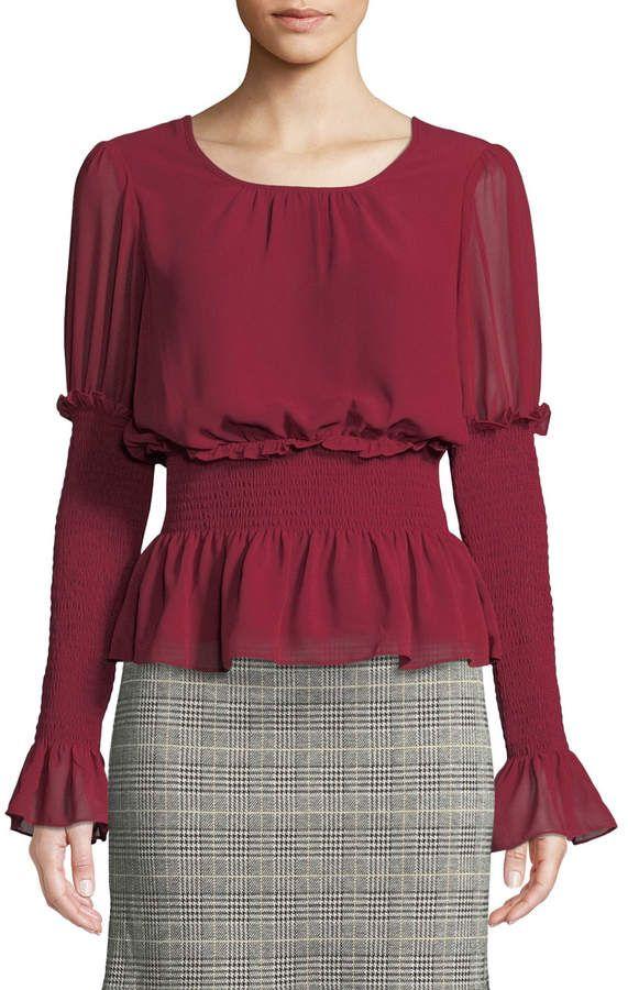 9e507a0d493 Max Studio Shirred-Sleeve Ruffle Blouse