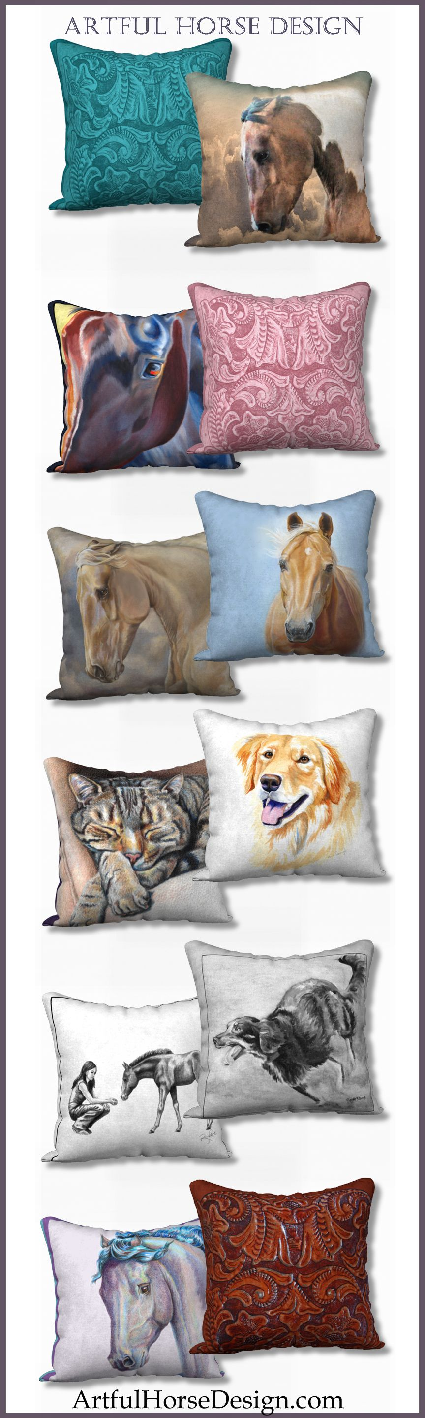Custom home decor pillow covers for horse, dog and cat
