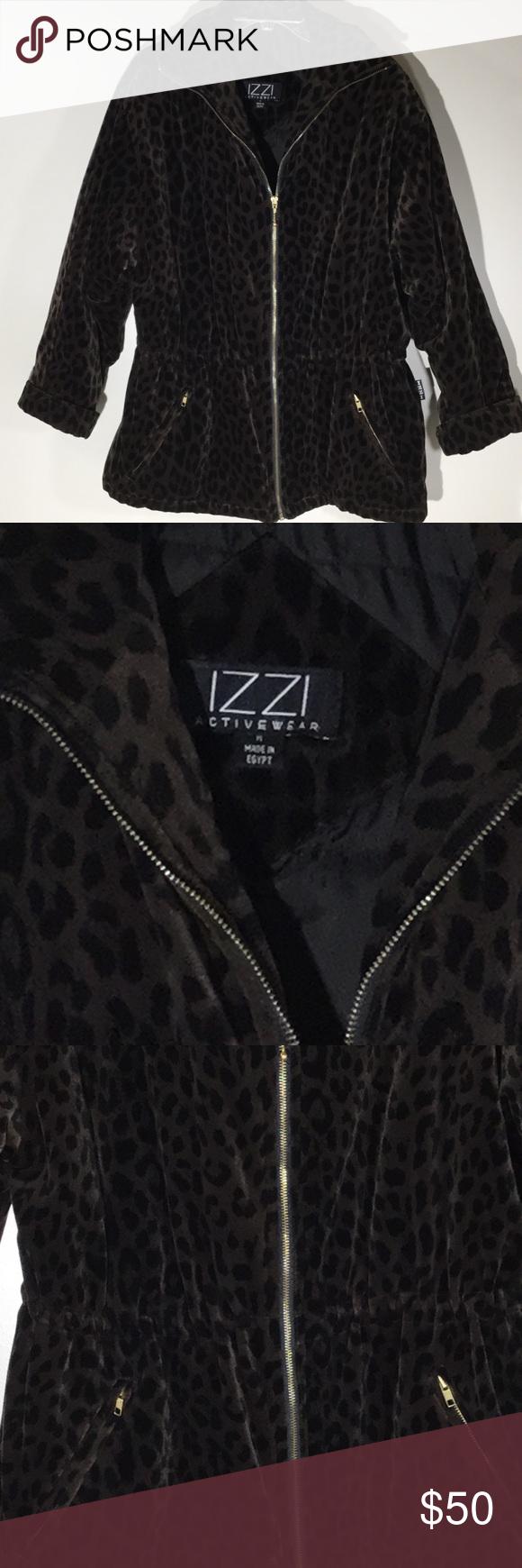 Izzi Activewear Leopard Print Full Zip Coat Izzi Activewear Leopard Print Full Zip Coat Zipper Pockets Cinch Waist Dry Clean O Zip Coat Fashion Clothes Design [ 1740 x 580 Pixel ]