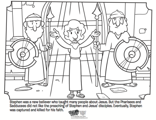 Printable Kids Coloring Page From Whats In The Bible Showing Stephen Who Was Martyred For Sharing Gospel