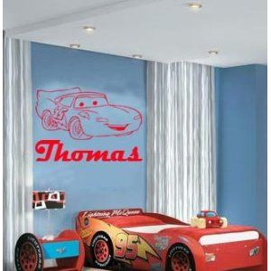 (Large) Lightning Mcqueen Cars U0026 Personalised Name Disney Bedroom Vinyl  Wall Art Decal Sticker 14 Colours Available