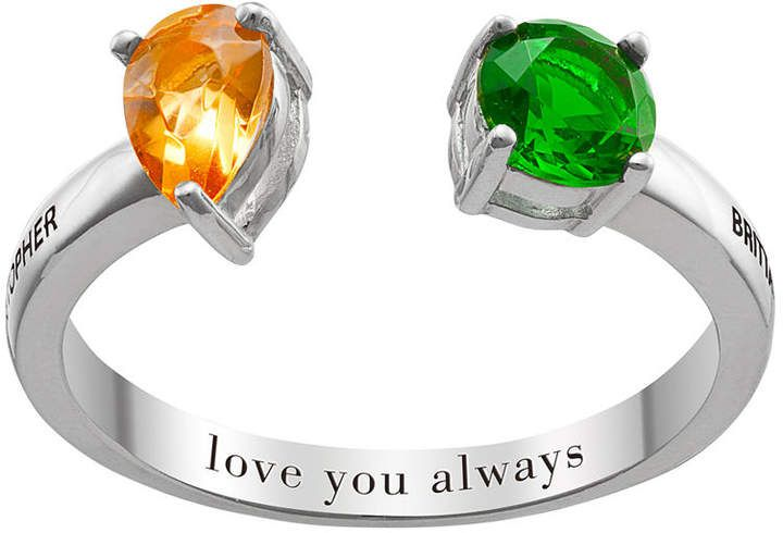 Fine Jewelry Personalized Womens Multi Color Crystal Sterling Silver Cocktail Ring Fw08Ni