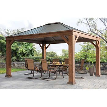 Sojag Messina Galvanized Steel Roof Sun Shelter Backyard Gazebo Backyard Pavilion Outdoor Pergola