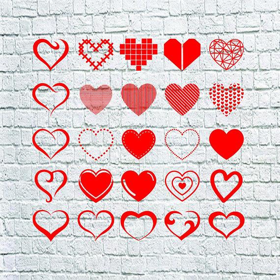 Buy 3 Get 1 Free 25 Heart Svg Hand Draw Heart Vector Heart Shape