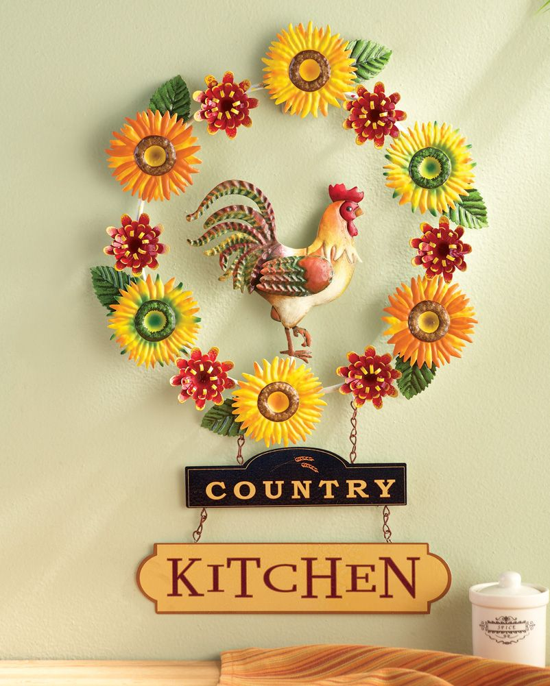 Country Kitchen Metal Rooster Wreath Wall Decor Sunflowers Mums Home ...