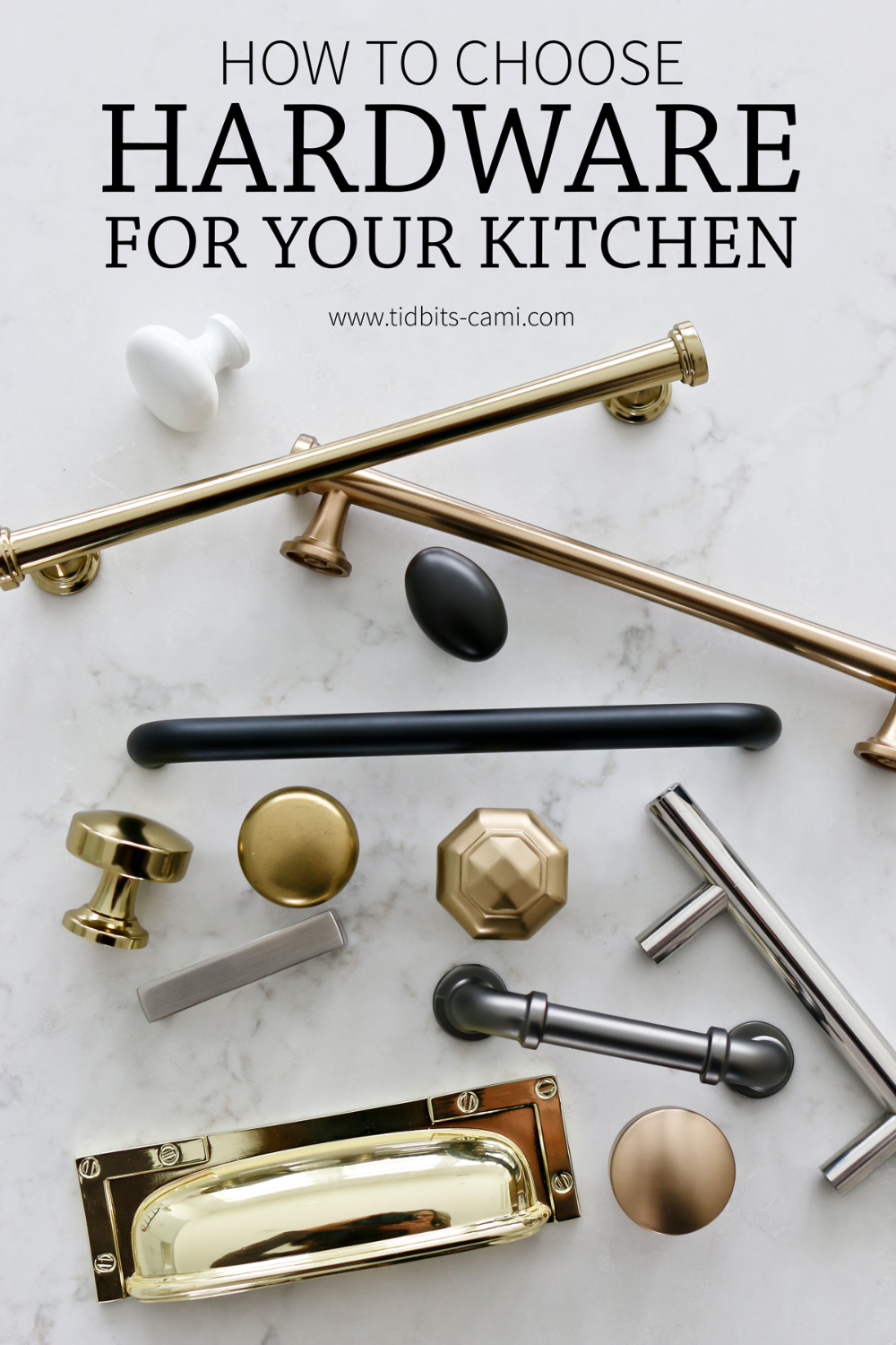 Choosing hardware can be tough! I'm sharing the 5 step process I used to pick the hardware for our new kitchen and giving you a glimpse at what it looks like. #kitchenhardware #hardware #cabinethardware #camitidbits