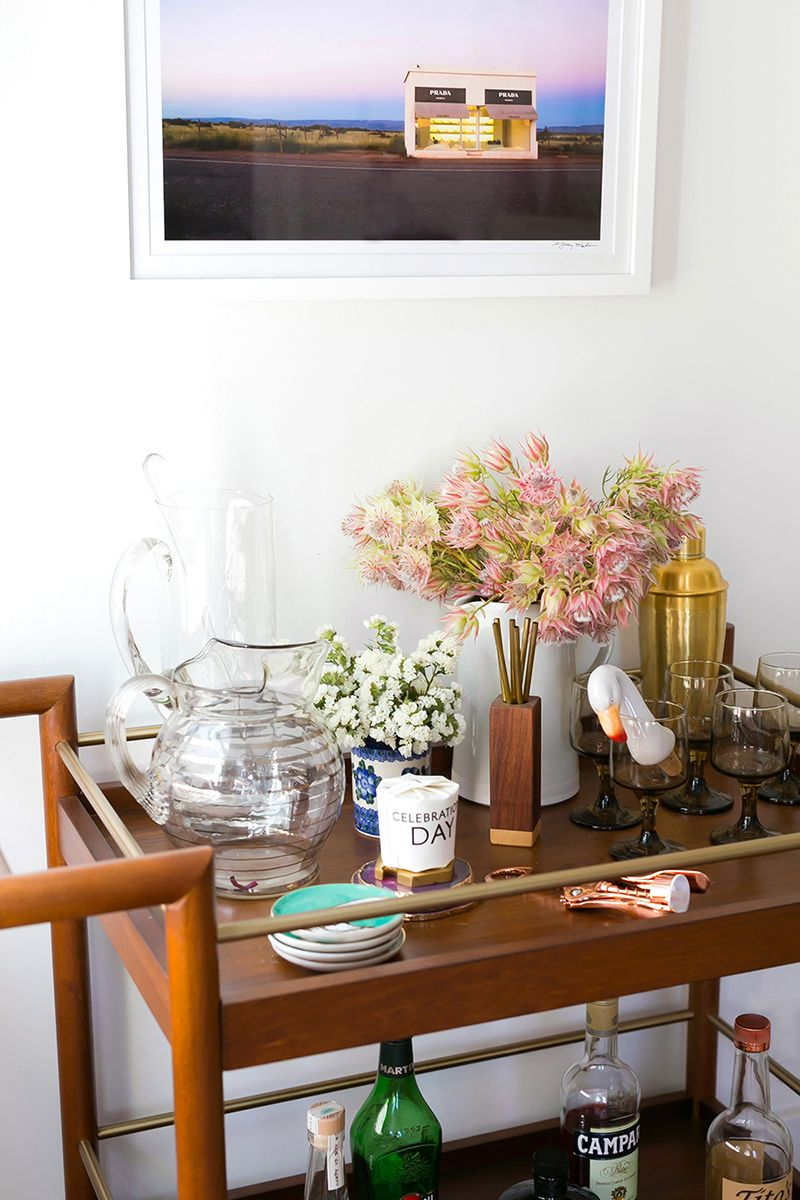 Home bar cart with flowers and Gray Malin art | Home Bars ...