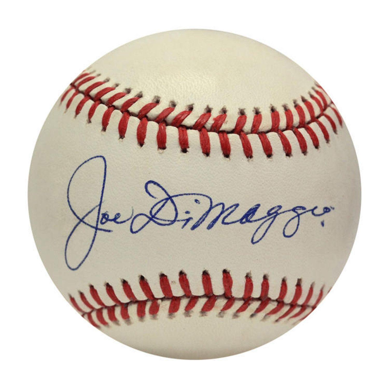 Joe Dimaggio Single Signed Baseball Joe Dimaggio Unique Collectibles Major League Baseball