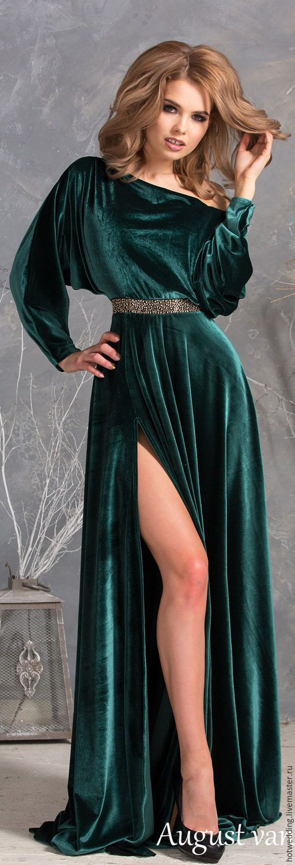 f247c7f3d0fef66 Платье из Королевского бархата, платье в макси длине, с разрезом, Платье  вечернее. Ручная работа. Handmade . Fashion . Wedding . Dress . Dresses .