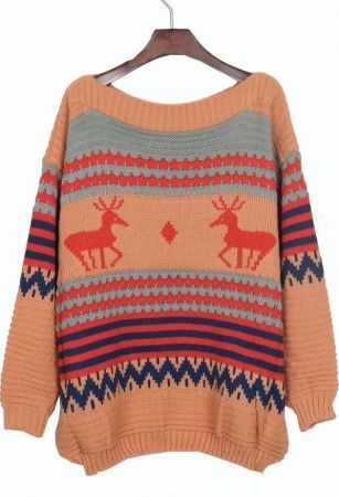 ab7b5550bb Multi-color Round Neck Stripped Reindeer Print Knitted Pullover ...