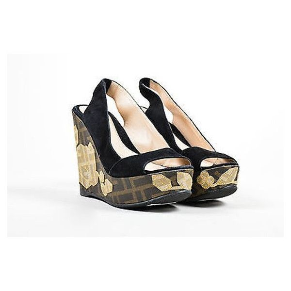 Pre-Owned Fendi Black Suede Leather Zucca Floral Open Toe Slingback... ($195) ❤ liked on Polyvore featuring shoes, sandals, multi, open toe wedge sandals, mid heel wedge sandals, platform sandals, open toe sandals and summer sandals
