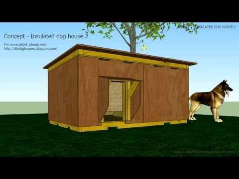 A Slanted Single Roofed Insulated Dog House With Two Rooms One