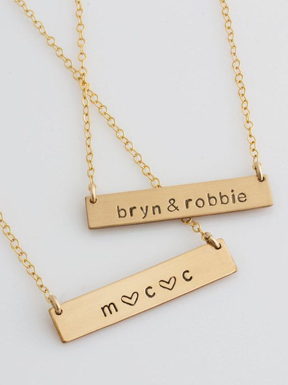 Hand Stamped Personalized Nameplate ~ Name Bar Necklace ~ 14k Gold Filled