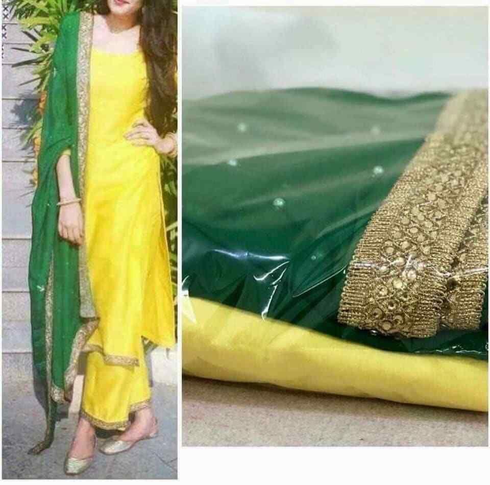 latest Bollywood Indian Designer haldi Wear silk long kameez