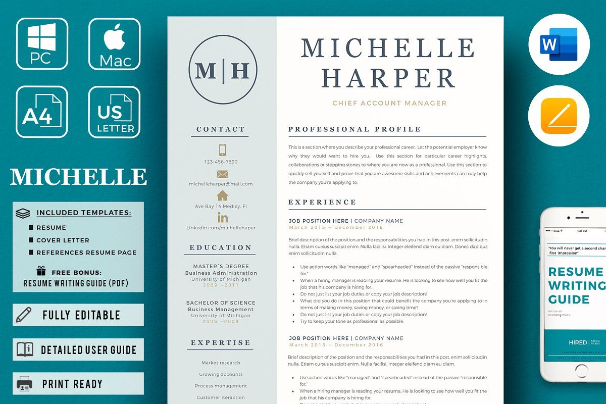 Professional Modern Resume Design Resume Template Cover Letter Format Guided Writing