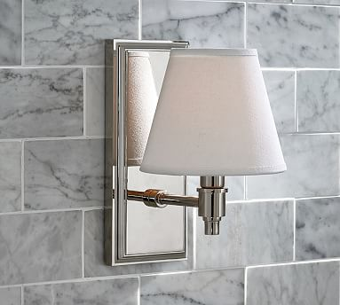 Bathroom Light Fixtures Pottery Barn hayden single shade sconce, chrome | bath, polished nickel and lights
