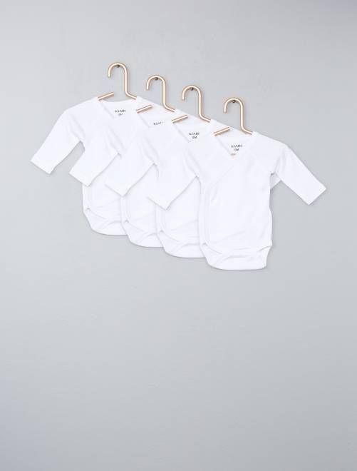 6be1ab1ab3c Pack de 4 bodies de algodón puro blanco Bebé niño - Kiabi