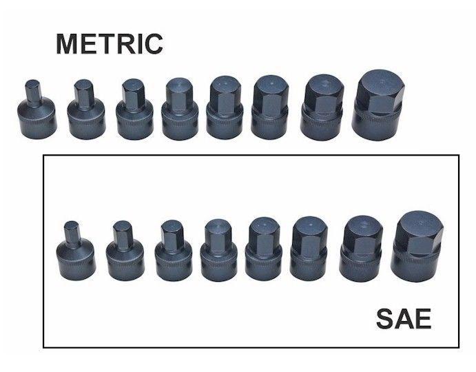 16 Pc Sae Metric Stubby Hex Set Short Pattern Impact Quality Allen Sockets Metric Sae Sockets