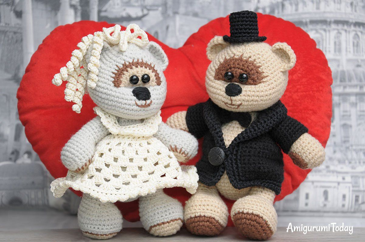 Amigurumi Crochet Patterns Teddy Bears : Amigurumi wedding bears crochet pattern teddy bear bears and