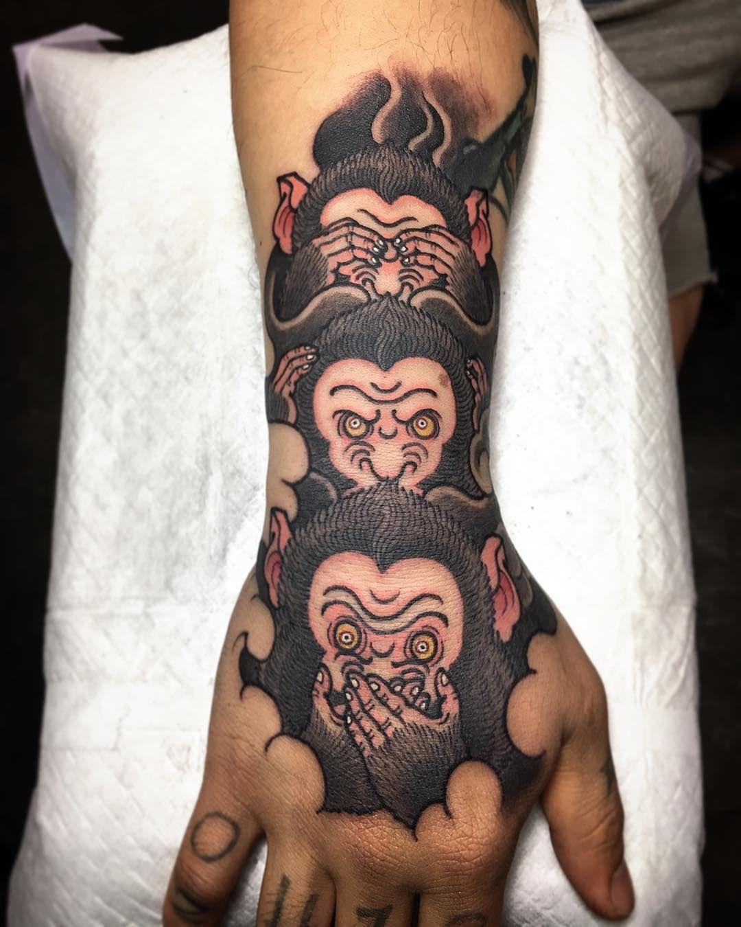 three monkeys tattoo on instagram tattoos pinterest affen. Black Bedroom Furniture Sets. Home Design Ideas