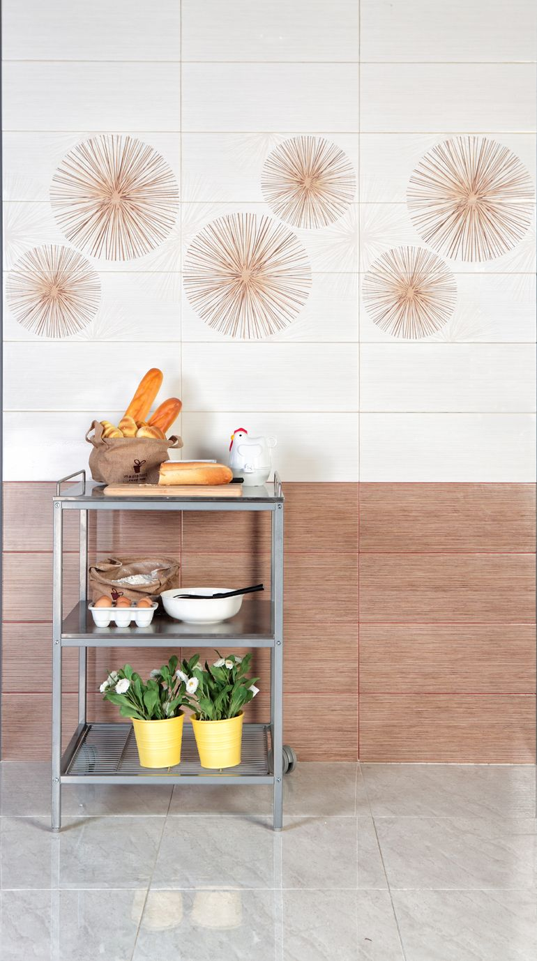 An ideas for your kitchen corner. Wall tiles using Cozy Brown ...